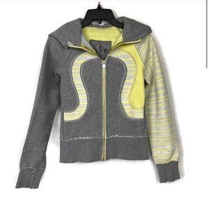 Lululemon Yellow and Gray Striped Scuba Hoodie 2